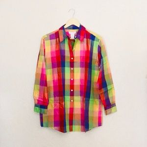 Isaak Mizrahi designer colorful plaid blouse